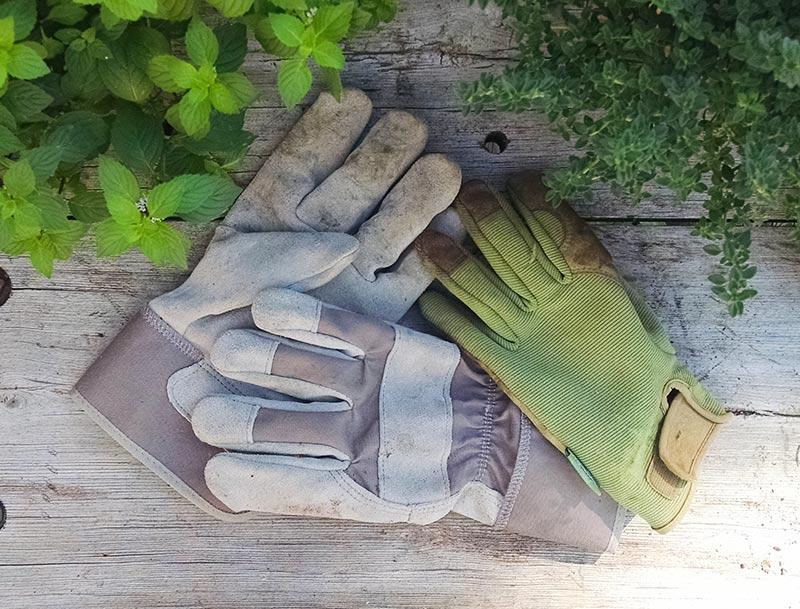 Suede and cloth/leather-reinforced gardening gloves.